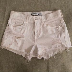 Express high-waisted jean shorts